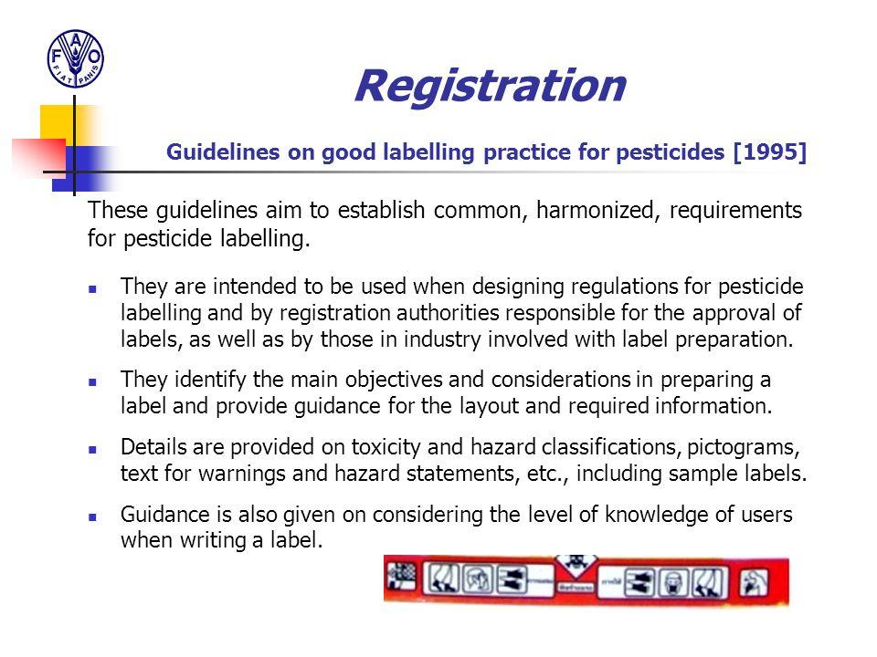 Registration Guidelines on good labelling practice for pesticides [1995]